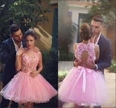 black girls pink short prom dresses a line3d flowers organza with