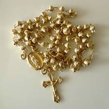 all gold rosary necklace images 9ct gold rosary beads diamond cut necklace beloved treasures jpg