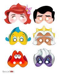printable mermaid masks instant download pdf file ariel eric