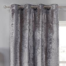 Silver Black Curtains Elegance Silver Crushed Velvet Luxury Eyelet Curtains Pair