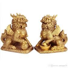 lion foo dog exquisite brass fengshui foo fu dog guardion lion kylin