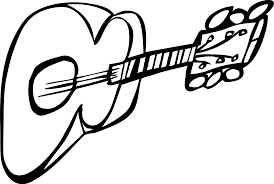 guitar 1 black white line art coloring sheet colouring page