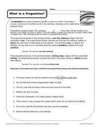 preposition worksheets worksheets