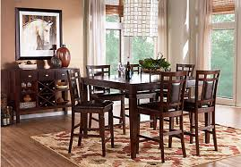 cherry 5 pc square counter height dining room padded chairs