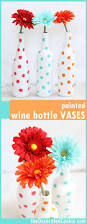 painted polka dot wine bottle vases an easy diy home decor craft
