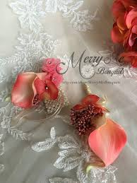 coral boutonniere coral wrist corsage coral and gold corsage set gold and