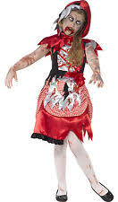 Zombie Princess Halloween Costume Kids Zombie Hood Costume Girls Halloween Fancy Dress Red