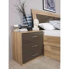 Schlafzimmer Komplett Arona Nachttisch Arona Eiche Sonoma Dekor Hochglanz Lava Home24