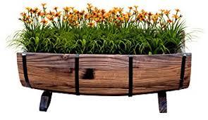 amazon com vintiquewise tm half barrel garden planter large