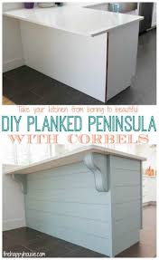 kitchen island corbels a little more kitchen drama diy planked peninsula with corbels