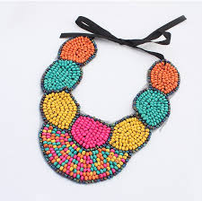 ethnic statement necklace images Wood beaded necklace fabric collar necklace crochet collar jpg