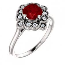 antique design rings images Antique design ruby diamond and14k white gold ring jpg