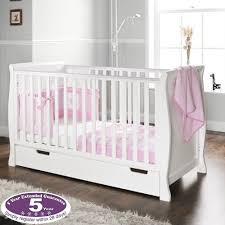 Obaby Crib Mattress New Obaby White Wood Sleigh Cot Baby Cotbed With Drawer Sprung