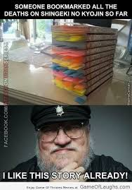 Funny Attack On Titan Memes - george rr martin is a fan of attack on titan game of laughs