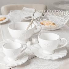 Vaisselle Shabby Chic Tasse Et Soucoupe à Café En Faïence Blanche Bourgeoisie Maisons