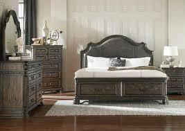 dark brown u0026 wire brush california king bed dresser mirror