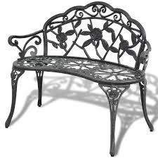garden patio bench outdoor chair park seat cast aluminium 2 seater
