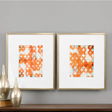 uttermost overlapping teal and orange modern art set of 2