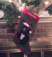 brindle french bulldog dog stocking needlepoint stocking