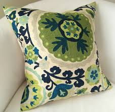 Cushion Covers For Sofa Pillows by Suzani Pillow Cover 18 X 18 Inch Blue Green Decorative Pillow