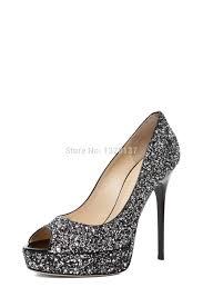 black rhinestone decorated sandal peep toe high heels light