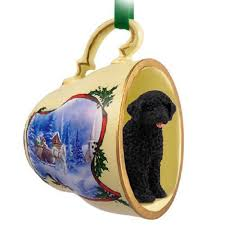 portuguese water tea cup sleigh ornament portuguese water