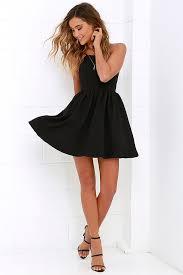 chic freely black backless skater dress bodice neckline and