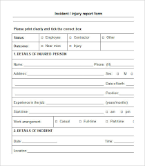 report form template employee injury incident report form template templates resume