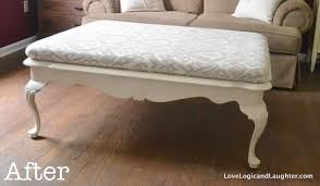 coffee table into upholstered ottoman or cocktail table