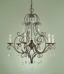 V A Chandelier by Feiss Chateau 6 Bulb Mocha Bronze Chandelier