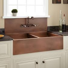 Christina DoubleBowl Farmhouse Sink With High Backsplash - Copper sink kitchen