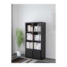 Kallax Kallax Shelf Unit With 2 Inserts Black Brown 77x147 Cm Ikea