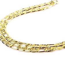 mens solid gold necklace images Mens 14k yellow solid gold figaro chain necklace 4 6 mm 18 24 jpg