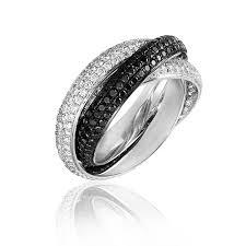 black diamond band mazal diamond 3 55ct three twined band pave white and black