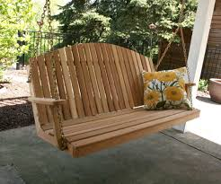 divine red cedar blue mountain fanback porch swing to gorgeous