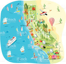 Map Of San Diego County by Cartoon Map Of California Stock Vector Art 165762958 Istock
