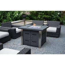 patio fire pit propane gas tank burning flame table top glass