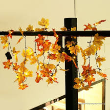 battery lighted fall garland thanksgiving decorations lighted fall garland 14 7 feet 40 led