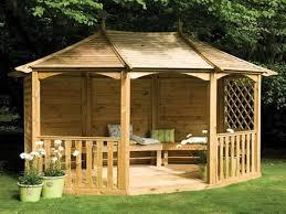 Garden Shelter Ideas Wonderful Wooden Garden Gazebo Design With Grey Pyramid Hip Roof