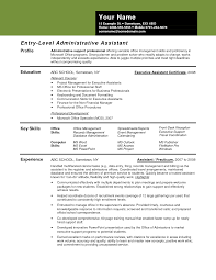 resume entry level objective administrative assistant entry level objectives for an executive