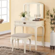 Vanity Table Contemporary White Bedroom Vanity Set Table Drawer Bench Ilana