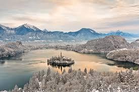 lake bled winter morning lake bled slovenia europe