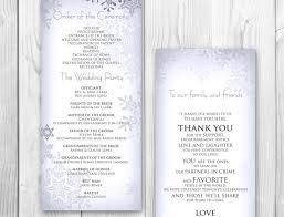 Winter Wedding Programs Custom Card Template Template For Name Place Cards Free Card