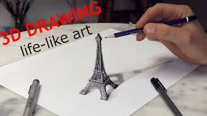 paris eiffel tower 3d drawing optical illusion paris