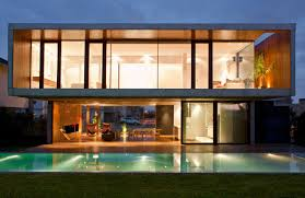 architecture modern house windows design backyard pool lighting
