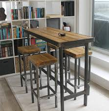 Small Breakfast Bar Table Handmade Bespoke Modern Industrial Long Narrow Bar Table And