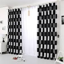 Black And White Blackout Curtains 2017new European Simple Gray Black Coffee Plaid Blackout Windows