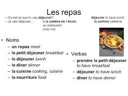 verbe de cuisine leçon 9 partie 1 français ii les repas noms un repas meal le