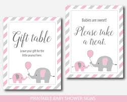 baby shower signs pink elephant baby shower table signs bundle gift table take a