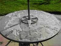 Patio Table Glass Shattered Glass Tables And Pyrex Shattering